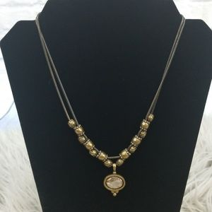 Chico's Bronze Antiqued Chain Abalone Necklace
